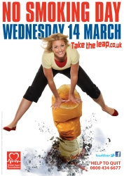 Woman 'takes the leap' over a cigarette to promote No Smoking Day 2012