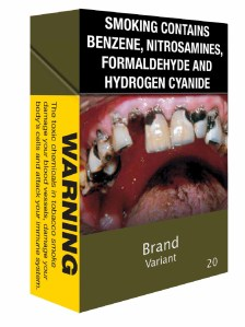 Photo of a plain pack of cigarettes with graphic image of rotten teeth