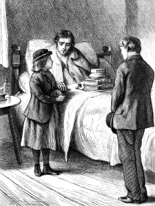 Black and white drawing of a sick man in bed, surrounded by two children
