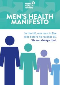 Image of four figures in descending height order. Text reads Men's health manifesto: in the UK one man in five dies before the age of 65. We can change that.