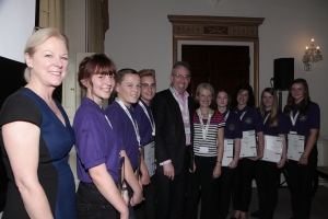 Eight Young Health Champions recieve an award from Duncan Selbie