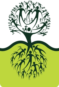 Graphic of a tree, with both the branches and roots made of people,