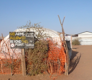 front gate of the MSF medical facility at Shanguil Tobaya in North Darfur in 2008