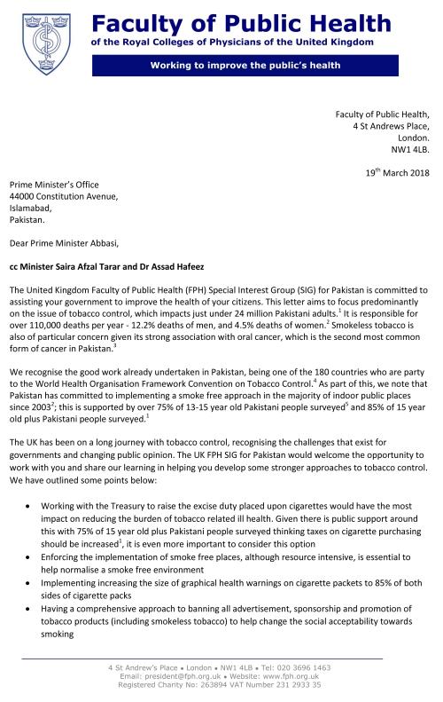 Tobacco control letter PM Abbasi 1
